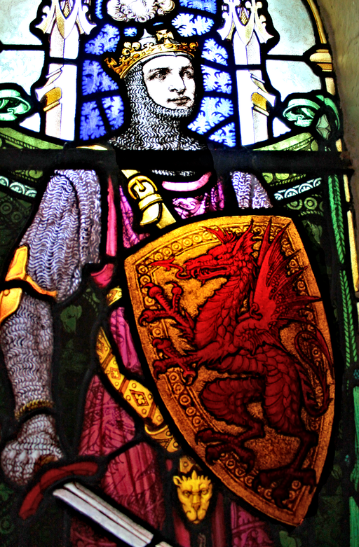 Llywelyn Fawr depicted in stained glass at St Mary's Church in Trefriw  Source:By Llywelyn2000 (Own work) [CC BY-SA 4.0 (http://creativecommons.org/licenses/by-sa/4.0)], via Wikimedia Commons