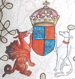 Cadwaladr's red dragon as a supporter of Henry VII's arms, along with the greyhound of the king's earldom of Richmond.